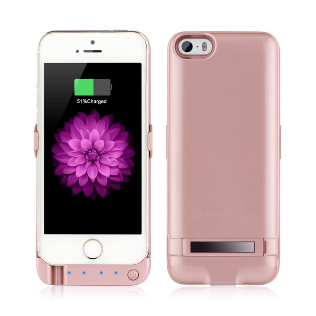 separation shoes 1a9e5 d9275 US $18.39  Rose Gold Charger case for iPhone 5/5S/SE 4200mAh Backup battery  Wireless Charging Power Bank Portable WIth USB Slot Free Gift-in Battery ...