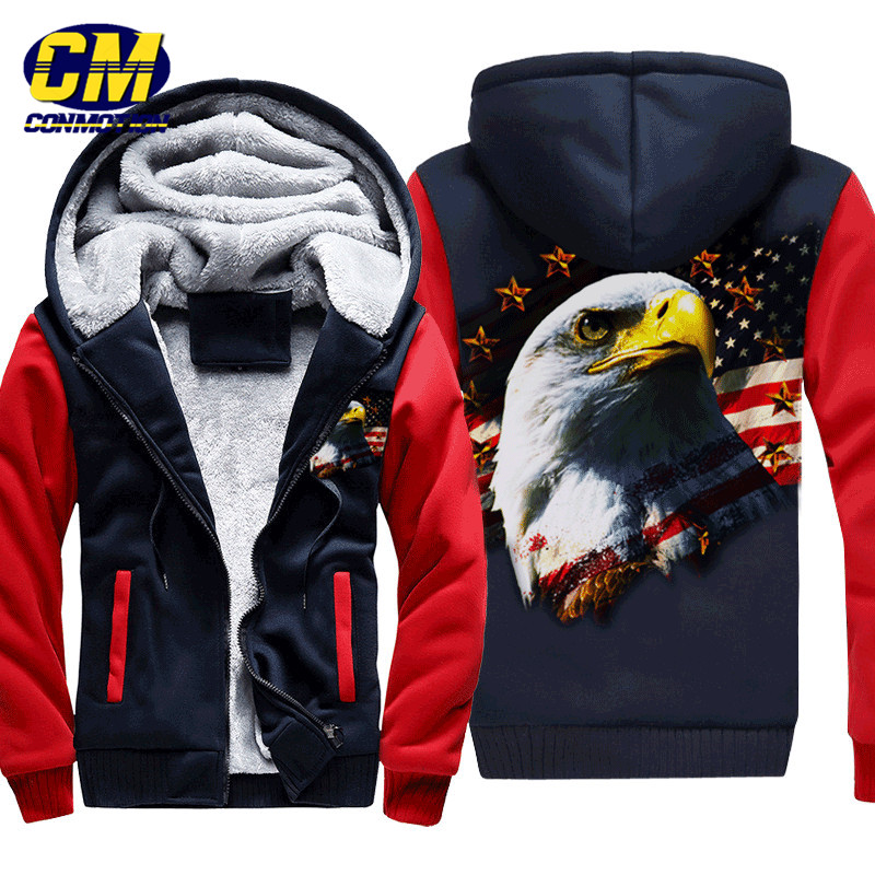 Dropshpping Fashion Men's Winter Jacket American Flag Hawk Printed Warm Hooded Cardigan Jacket