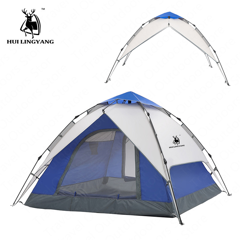 GAZELLE OUTDOOR Camping Tent 3-4Person Hydraulic Automatic Family Tent Outdoor Double Layer Picnic Beach Tent WaterproofPU3000mmGAZELLE OUTDOOR Camping Tent 3-4Person Hydraulic Automatic Family Tent Outdoor Double Layer Picnic Beach Tent WaterproofPU3000mm