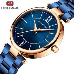 MINI FOCUS Women Watches Waterproof Blue Stainless Steel Brand Luxury Fashion Ladies Quartz Watch Relogio Feminino Montre Femme