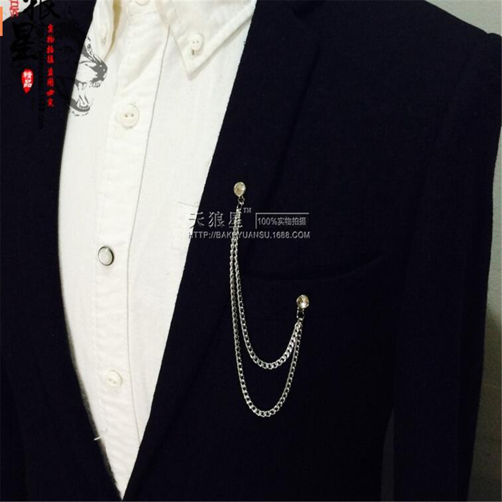 Mens jacket brooch - Aliexpress Com Buy Fashion Shirt Collar Point Lead Angle Chain Brooch Pin Men S Accessories Brooch From Reliable Accessories Stand Suppliers On Jiang Fu