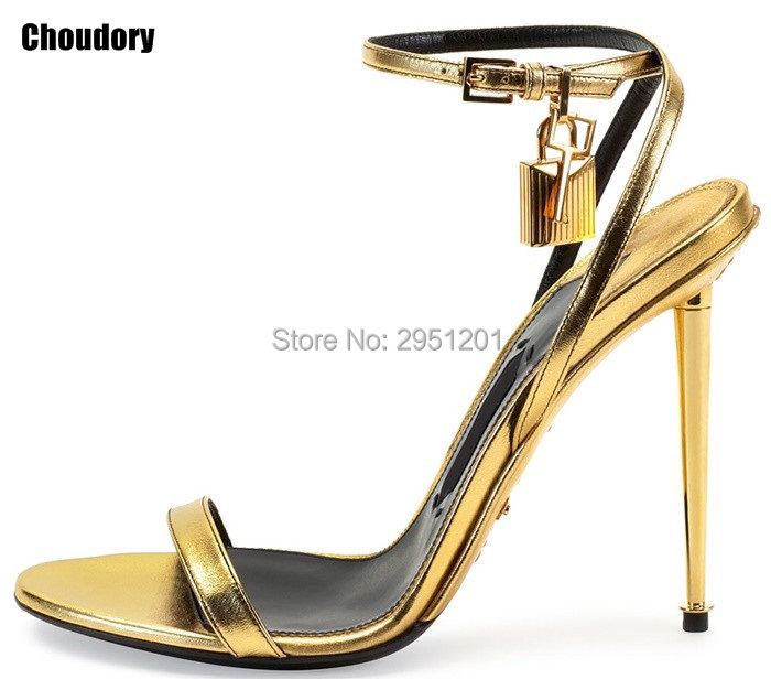 2017 Hot Sale Sexy Women Summer Open Toe Gold High Heel sandals Lock Ankle Strappy Strap Celebrity Shoes Gladiator Sandals 2017 summer women sexy gold chains strappy open toe stiletto heel nightclub party high heel sandals dress shoes ladies
