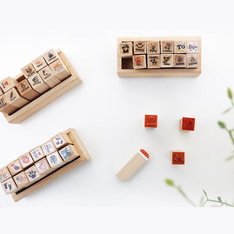 12 шт./компл. деревянная печать погода вещи животные милые DIY карточки для дневника делая мини милые марки школьные принадлежности