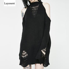Black Gothic Long Sweaters Women Punk Hollow Out Off Shoulder Thin Hole Pullover Jumpers Cool Broken Knit Sexy Sweater Slit Top asymmetric cut out shoulder knit top