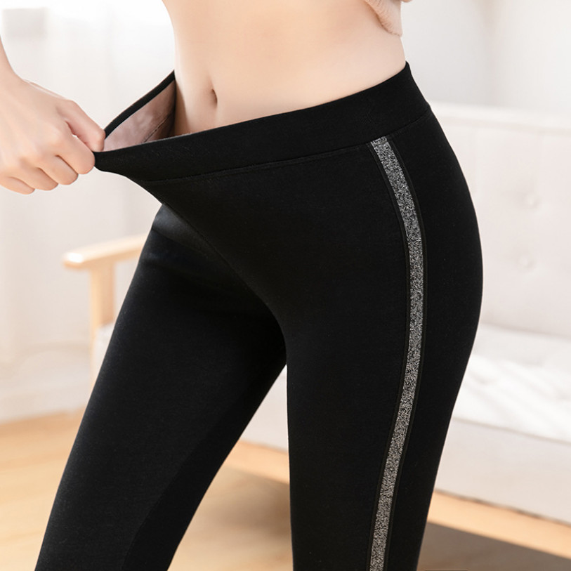 2019 Autumn Winter Cotton Velvet   Leggings   Women High Waist Side Stripes Sporting Fitness   Leggings   Pants Warm Thick   Leggings