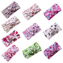 Cute Girl Hair Accessories Bohemian Children Wide-brimmed Headband Nylon Printed Bow Baby Soft Bands