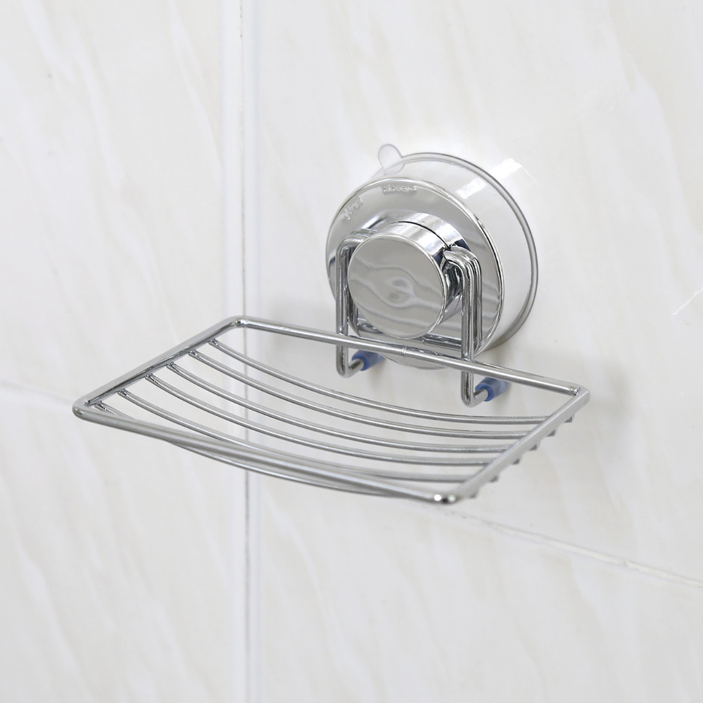 Strong Suction Removable Soap Dish Holder Basket Tray Bathroom Kitchen Electroplated Iron Soap Organizer Rack