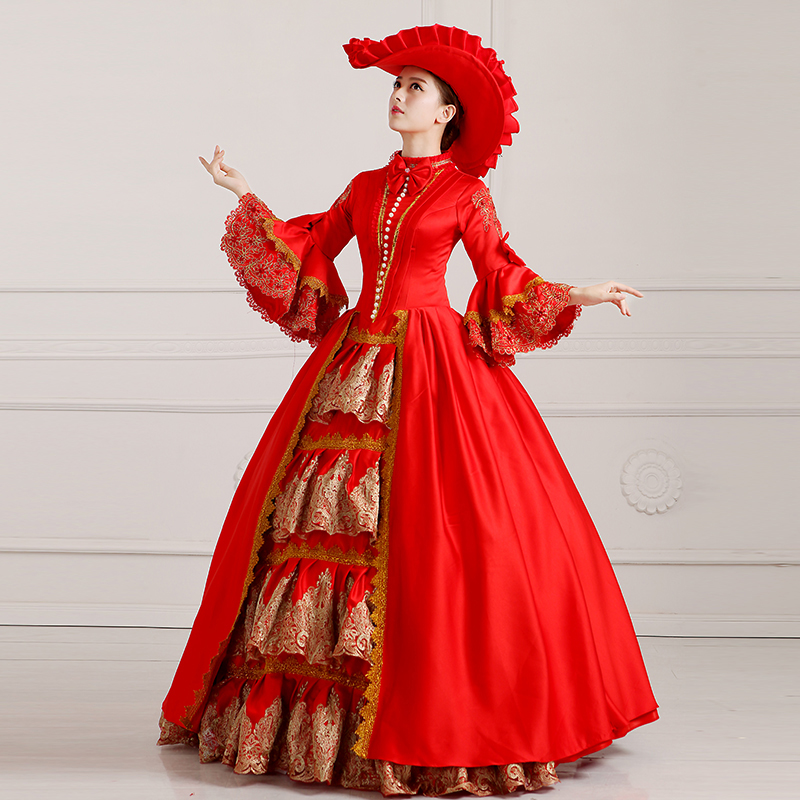 Long Sleeves ROCOCO Ball Grown Gothic Medieval Victorian Red Dress Costume Custom Made-in Sexy Costumes from Novelty u0026 Special Use on Aliexpress.com ...  sc 1 st  AliExpress.com & Long Sleeves ROCOCO Ball Grown Gothic Medieval Victorian Red Dress ...