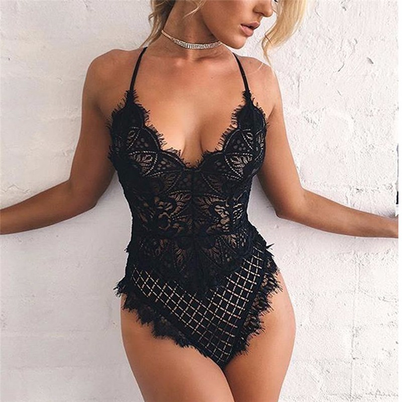 Sexy Black Transparent Lace One Piece Swim Suits Swimsuit 2017 Swimwear Lingerie Underwear Outfits Teddies Bodysuit Bathing Suit one piece swimsuit cheap sexy bathing suits may beach girls plus size swimwear 2017 new korean shiny lace halter badpakken
