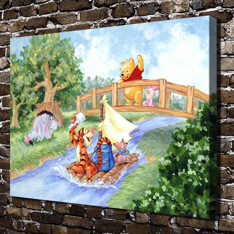 ⃝A3017 Winnie de pooh Cartoon Dier Landschap. HD Doek woondecoratie ...