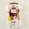 Novelty Skull Pattern Blusas Womens Tshirt Summer Dress 2016 Fashion Printed Top Tees New Design T Shirt For Girls T-Shirt S1729