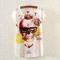 Teste Padrão Do Crânio da novidade Blusas Tshirt Das Mulheres do Vestido do Verão 2016 Moda impresso Top T Nova Camisa do Projeto T Para Meninas T-Shirt S1729