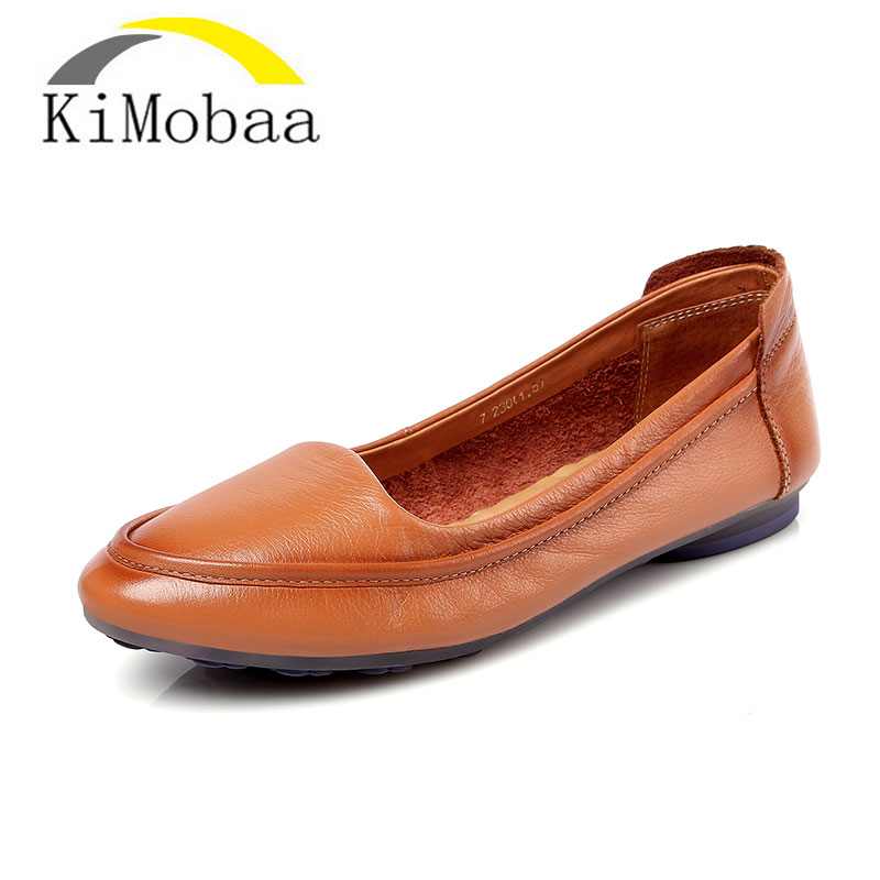 Kimobaa Loafers Women Flat Shoes Soft Shoes High Quality Cow Leather Round Toe Shoes Women Comfortable Flats Size 34-40 TX04