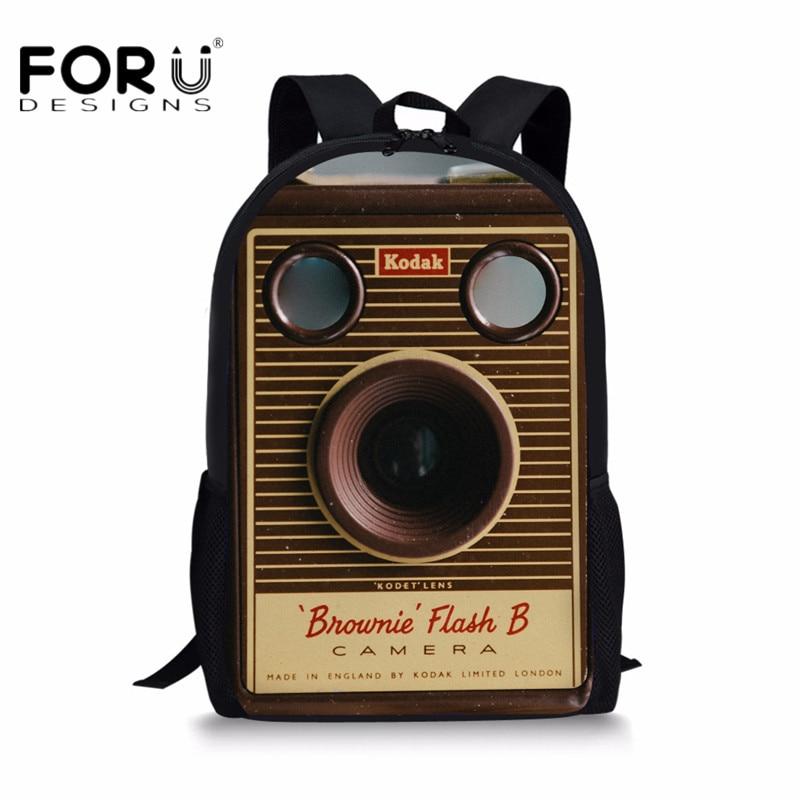 FORUDESIGNS Retro Camera 3D Printing School Bags for Children Bagpacks Teens Girls Schoolbag Women Men Travel Laptop Backpacks