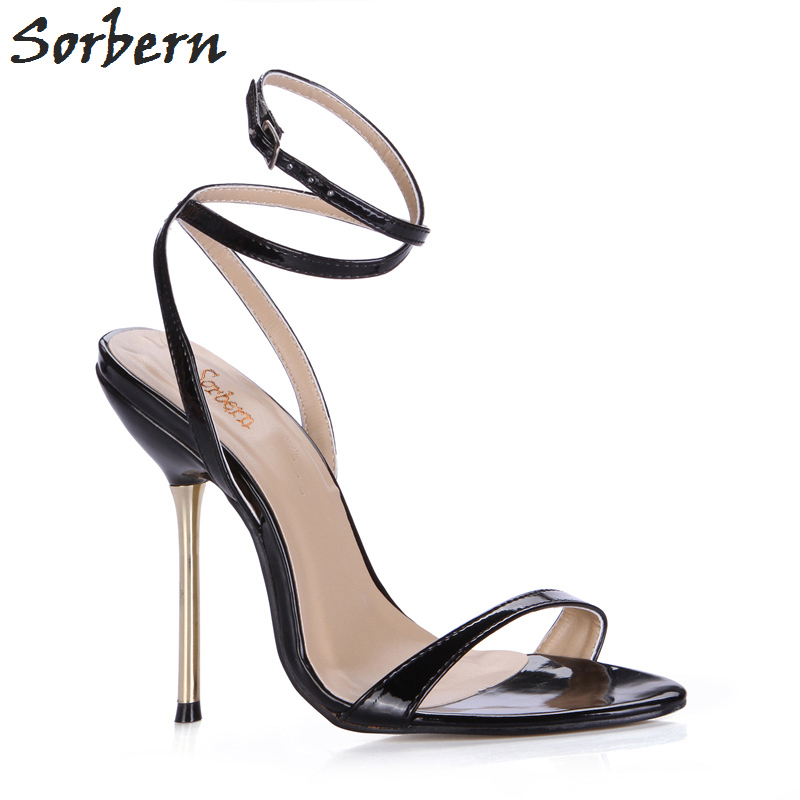 Sorbern Women Summer Sandals Shoes Real Image Ladies Party Shoes Metal Heels Buckle Strap Custom Made Color Womens Sandals sorbern women sandals shoes real image pvc clear heels buckle strap 15cm heels crystal sandalias mujer 2018 summer shoes women