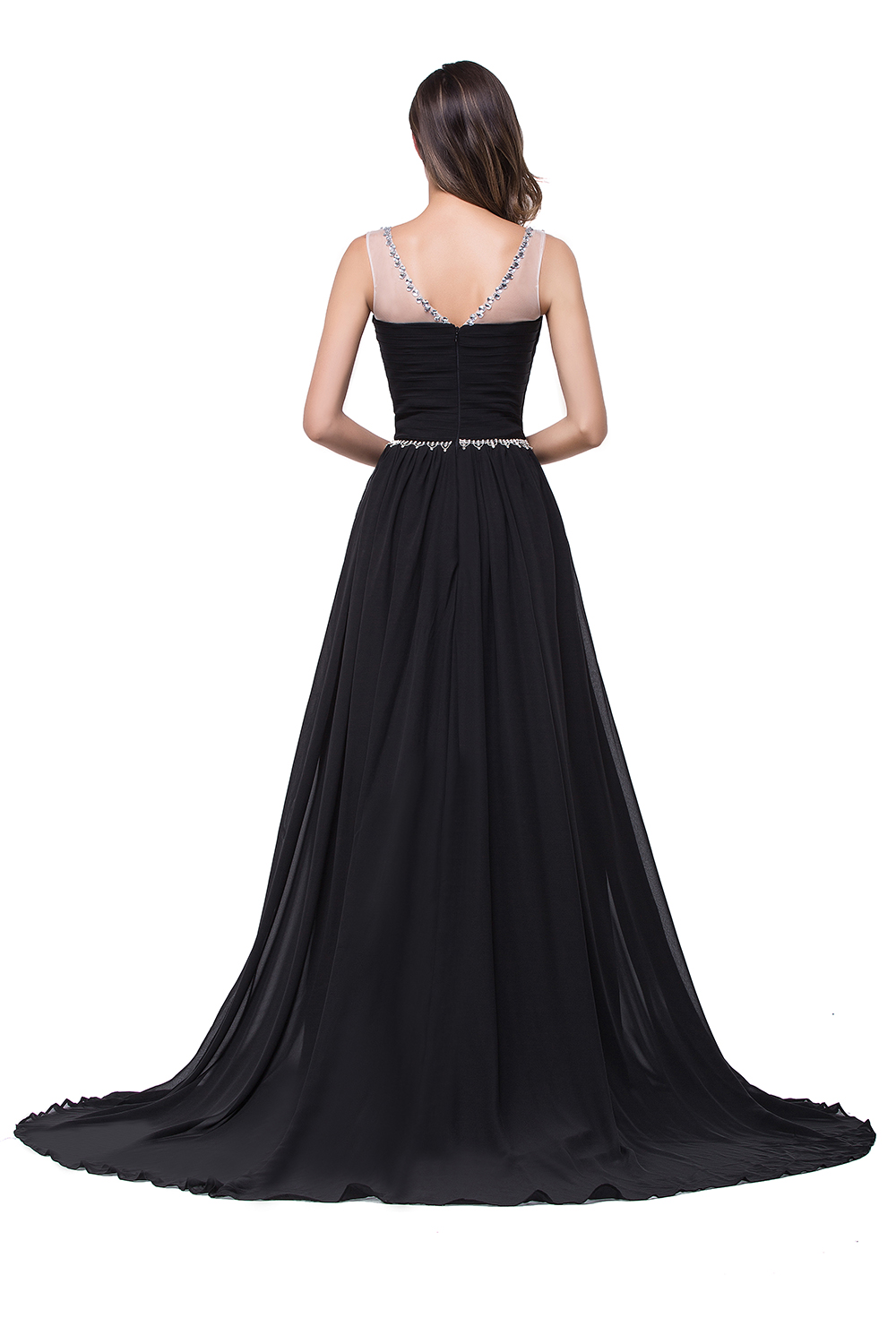 In stock Robe De Soiree Flowing Chiffon Long Evening Dresses Elegant 2017  Tulle Neck Crystals Beaded Prom Party Dresses-in Evening Dresses from  Weddings ... ebf6a0c4379e