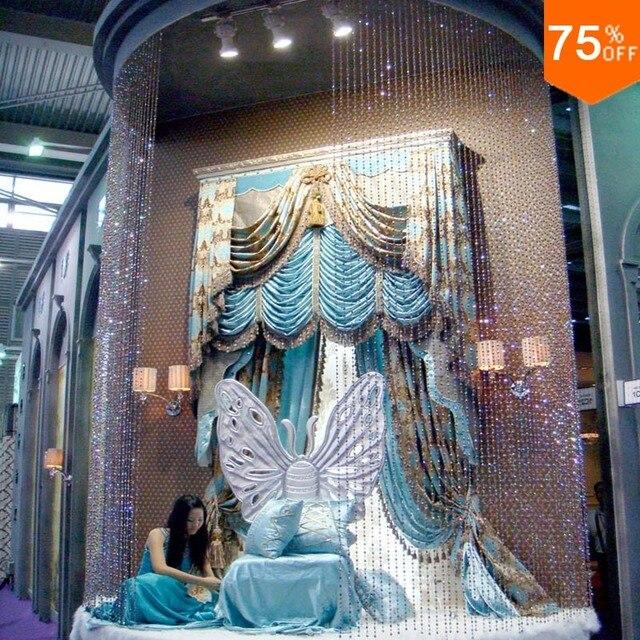 Max Hohe Villa Luxus Vorhänge Wohnzimmer Türkis Hohe Fenster Säure Blau  Cottage 3D Vorhänge Arten Vorhang
