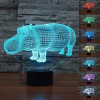 8 Types Animal Chic Lovely Rhino Red Cow Touch Switch 3D Visual Table Lamp USB Powered