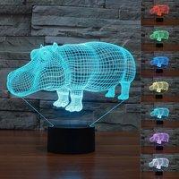 8 rodzaje Zwierząt Chic Piękny rhino Czerwone Krowy Dotykowy Przełącznik 3D wizualne Lampa Stołowa Kreatywnie USB Powered Światła Xmas Zabawki Prezent