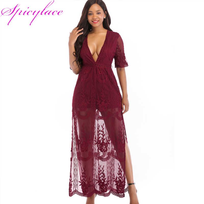 Прямая поставка, женское кружевное сексуальное платье с глубоким v-образным вырезом, Элегантное Длинное Платье Макси, богемное платье Vestidos размера плюс