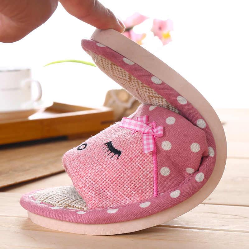 Zapatos de mujer de alta calidad zapatillas de lino 2019 nuevo estilo de Casa de lino a rayas zapatillas de deslizamiento de verano de dibujos animados gafas de suelo