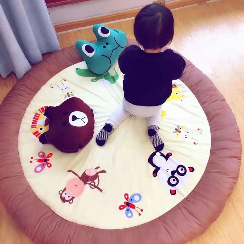 New Fashion Cotton Round Play Mat Rabbit/Bear Animals Carpet Living Room Kids Room Non-slip Mat Baby Crawling Rugs Birthday Gift