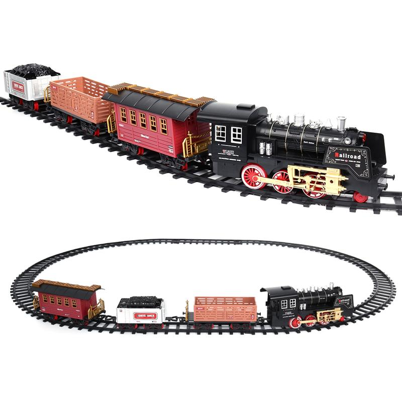 Kids Classic RC Train Toy Sets Funny Realistic Sounds Light Remote Control Railway Car Toys Children Christmas Gift ...