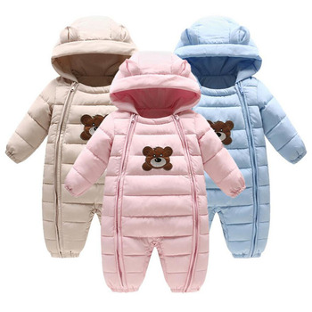 Baby Winter Bear Baby Bodysuits One-Pieces Cotton Thick Padded Jacket Kids Parkas Suitable 0-18 Month Baby
