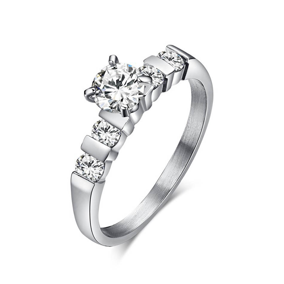 Thin Rings For Women Wedding Engagement Rings With Crystal Stainless Steel  Ring Silver Color Zircon Birthday
