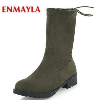 33cda8cc ENMAYLA básicos punta redonda De las mujeres Zapatos De encaje botas De  tobillo botas De invierno para Mujer De moda 2018 Zapatos De Mujer tamaño  34 -43 ...