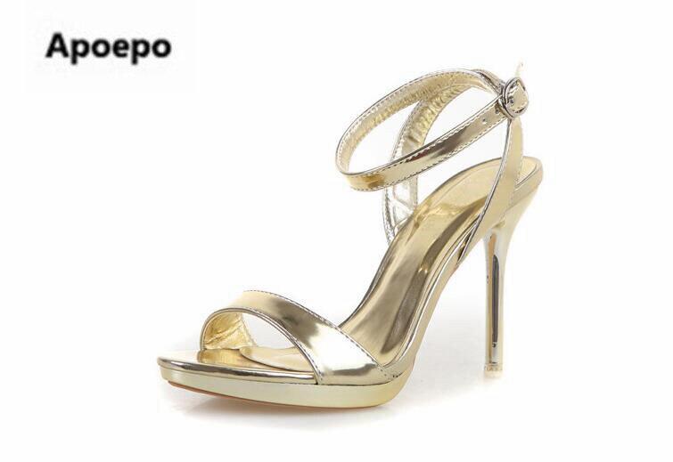 Date or argent miroir femmes sandales 7 cm/9 cm plate-forme talons chaussures femmes été cheville sangle sexy robe chaussures taille 41 - 2