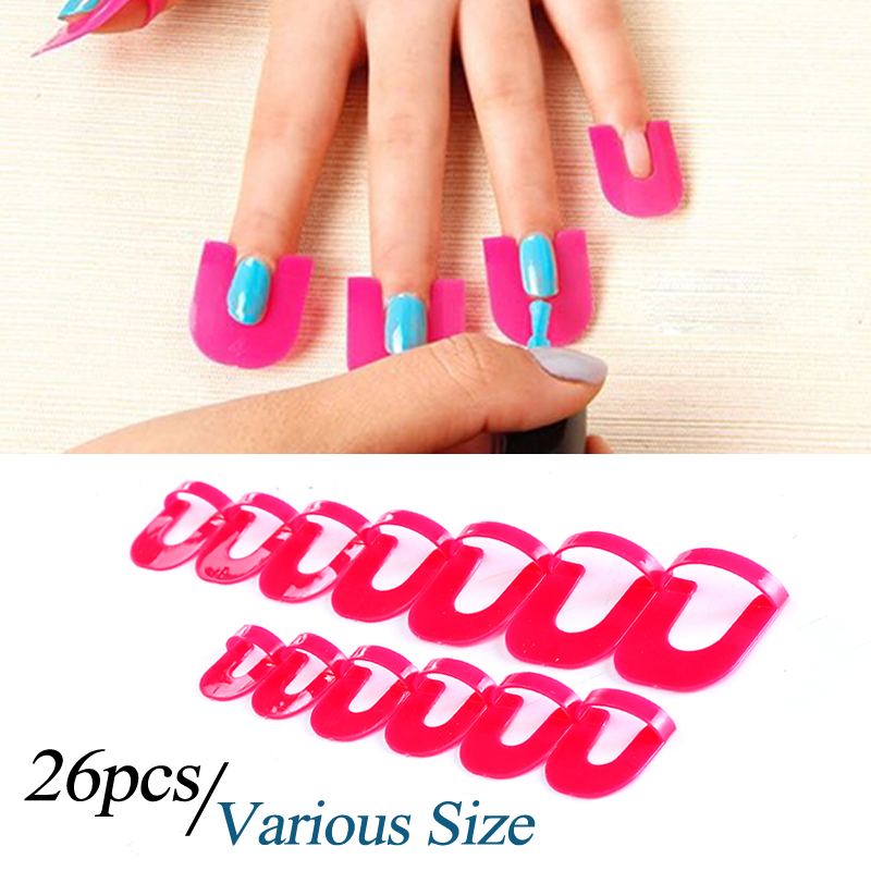 Modelones 26pcs Pack Gel Nail Polish Protector Creative Spill Resistant Tools Finger Cover Shield
