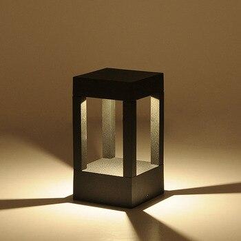 BECOSTAR Aluminum Gray/Black Outdoor Waterproof LED Bollard Lamp,Lawn Lighting Height 200mm