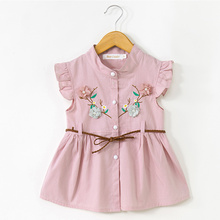Menoea Cute Baby Dresses Summer Girls Clothes Flowers Embroidery Princess Newborn with Elt for 6M-24M Girl