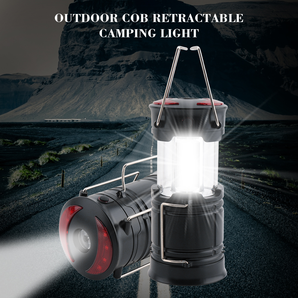 BORUIT Mini Portable LED Tent Light Stretch Outdoor Camping Lantern Hiking Lamp COB LED Waterproof Camping Light Use AA Battery
