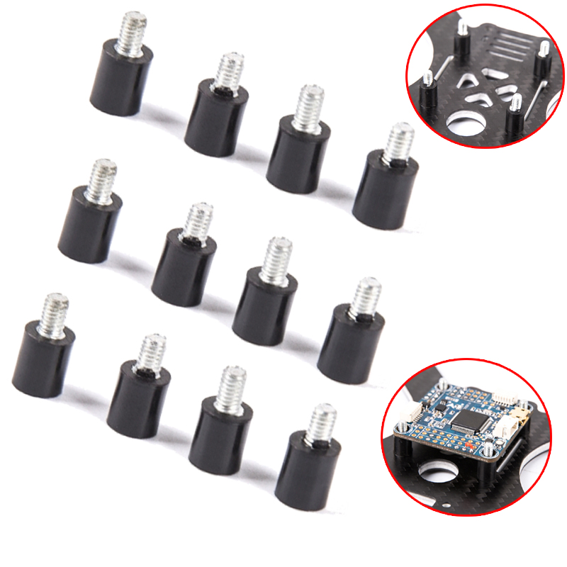 12pcs M3 Flight Controller Anti-vibration Standoff Fixed Screw Damper Mounting Hardware For Naze32 Cc3d F3 F4 Rc Quadcopter Relieving Rheumatism