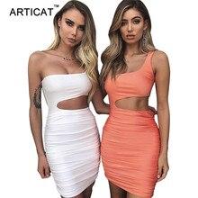 Articat قبالة الكتف مثير Bodycon ضمادة فستان المرأة مثير حمالة طويلة الأكمام الجوف خارج فساتين الحفلات Vestidos فستان صيفي