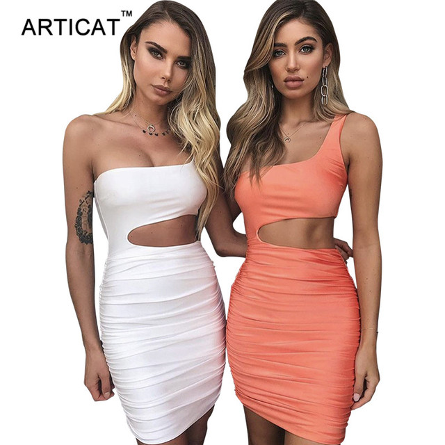 Articat כבוי כתף סקסי Bodycon תחבושת שמלת נשים סקסי סטרפלס ארוך שרוול חלול מתוך מפלגה Vestidos קיץ שמלה