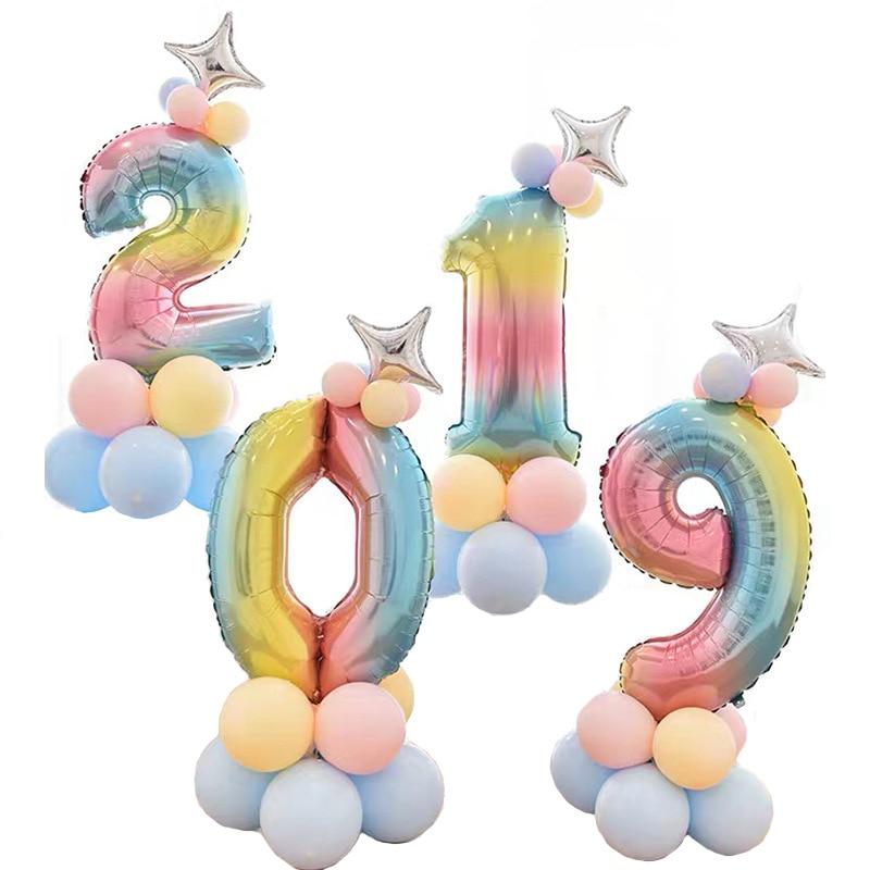 32 дюймов фольга градиент воздушные шары в форме цифр Набор цифр шар с днем рождения воздушные шары вечерние украшения дети мультфильм шляпа игрушка