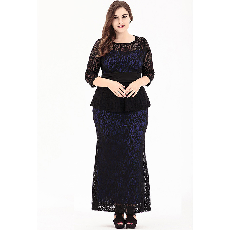 Autumn Elegant Women Club Party Lace <font><b>Dress</b></font> O Neck Half Sleeve Plus Size <font><b>6XL</b></font> <font><b>Sexy</b></font> Slim Long <font><b>Dress</b></font> image