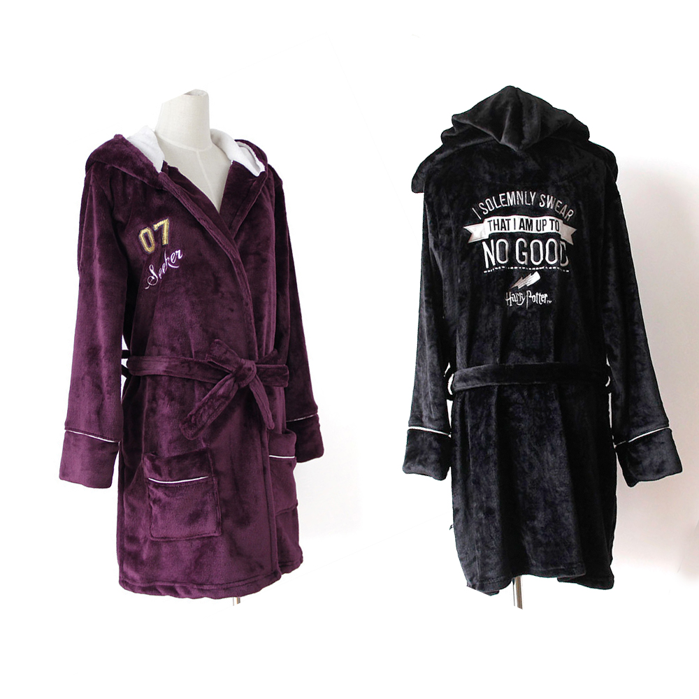 Harri Potter Bathrobes Cosplay Flannel Hooded Thermal Long Bathrobe Costume Kimono Robe Adult Version Sleepwear