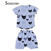 SOSOCOER Boys Clothes New Summer Boy Clothing Sets Cartoon Batman Short Sleeve T Shirt Harlan Pants