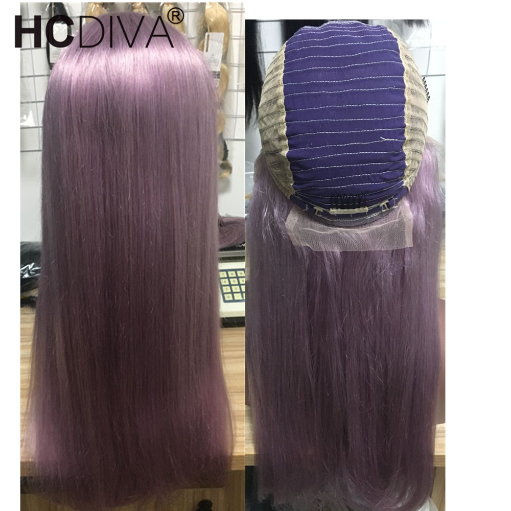 Romantic Purple Long Colorful Wig 13*4 Lace Front Wigs 130% Density Peruvian Straight Remy Human Hair Wig 10 24 inch Lace Wig