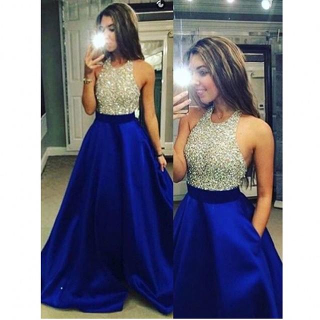 463fb544e685 Sexy Royal Blue Lungo Prom Abito Da Sera 2017 Vestido Longo Cristalli  Vintage Argento Paillettes Una ...