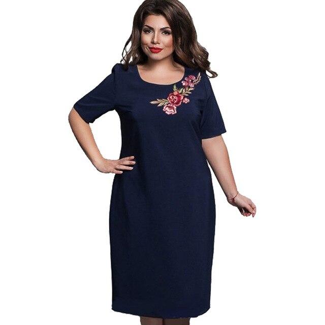 Plus Size Women Dress 2017 New Summer Elegant Ladies Embroidery Dresses Fat  MM L-6XL Loose Jurken Big Size Robe Femme Vestidos 873120dca916
