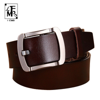 LFMB New Designer Brand Belt For Men High Quality Genuine Leather Gold Pin Buckle Belt