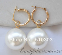 18 MM ROTONDO BIANCO SOUTH SEA SHELL PERLA ORECCHINI DANTLE