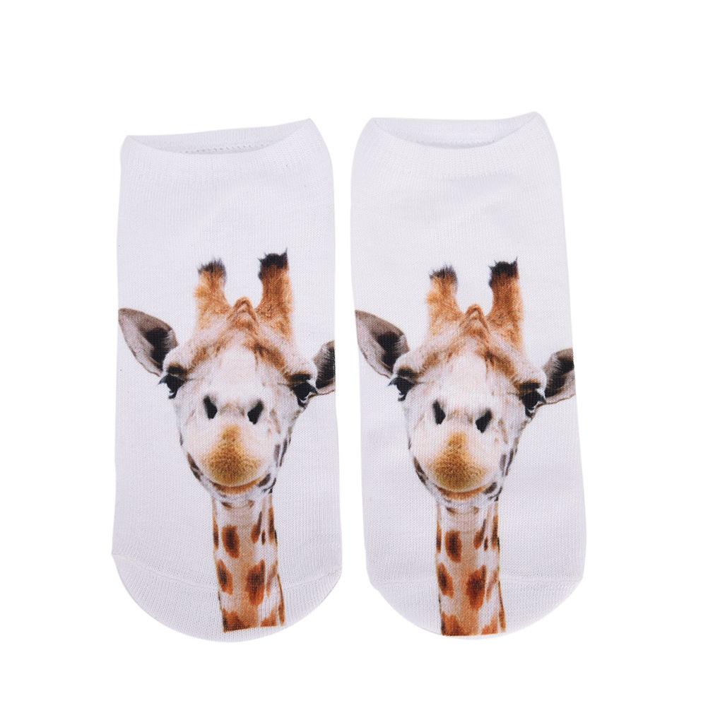 1Pair Unisex Men Women 3D Giraffe Socks Casual Cute Harajuku Funny Animal Socks Low Cut Ankle Sock Men Accessories