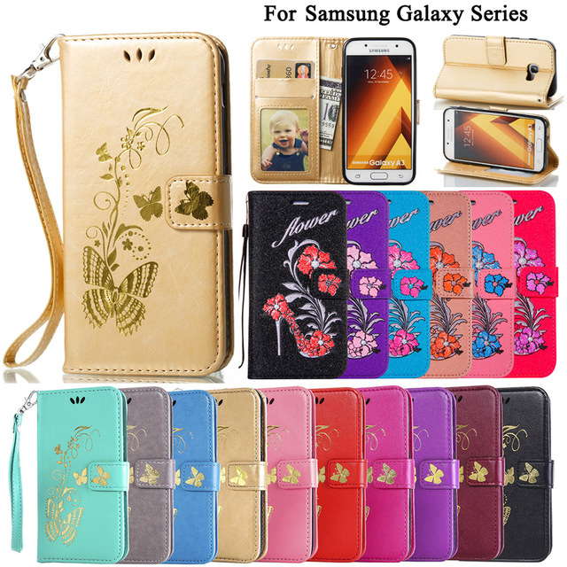 Flip Wallet PU Leather Case for Samsung Galaxy A3 A5 A7 2016 2017 J3 J5 J7 Pro 2017 2016 J1 Mini J2 Prime Card Slot Cover B13