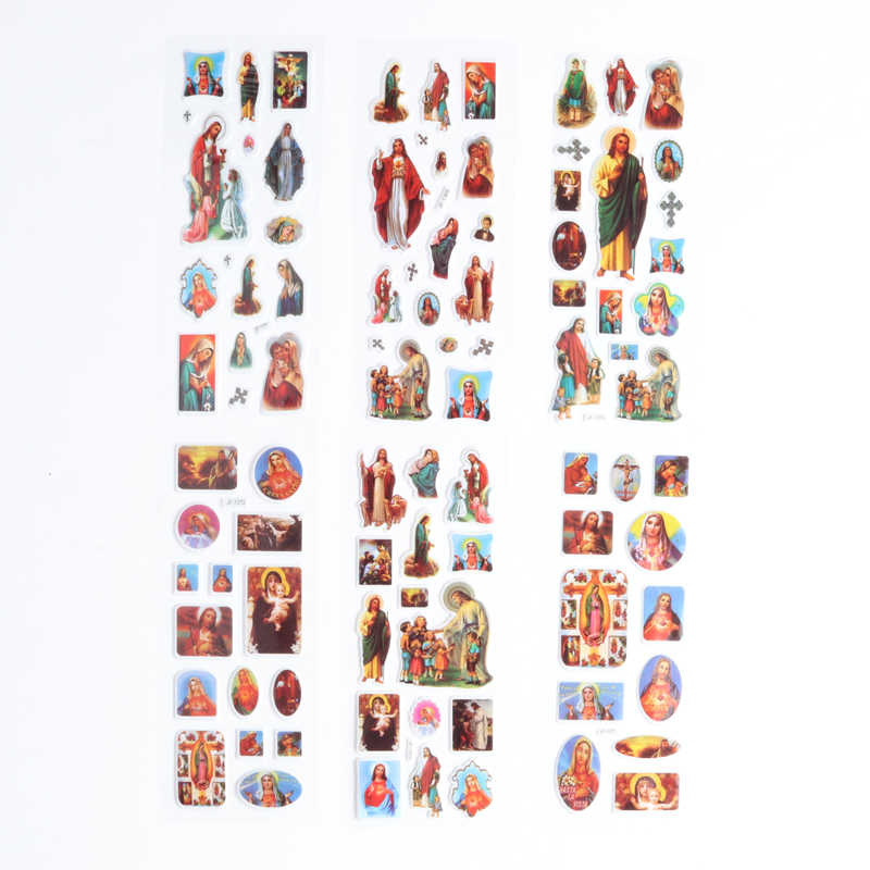 Jesus Stickers 100sheets/lot High Quality Christ the Savior Cartoon  3D Bubble Stickers Classic Kids Toys Gift Jesus' s blessing